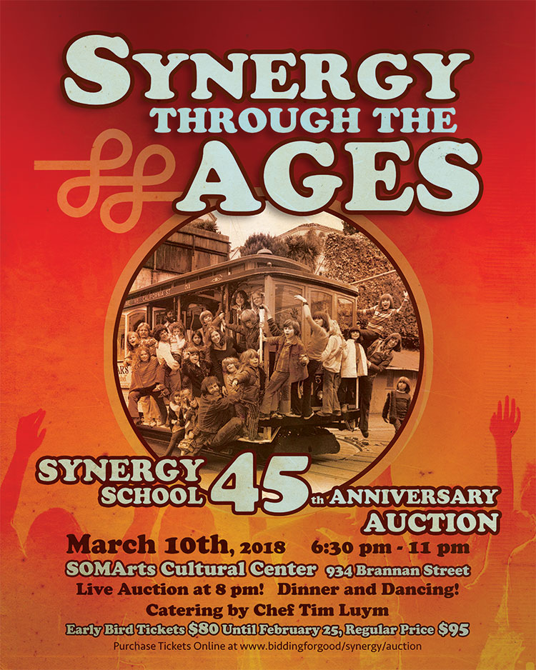 Logo for Synergy School 45th anniversary auction